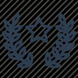 achievement, award, glory, laurels, prize, star, winner icon