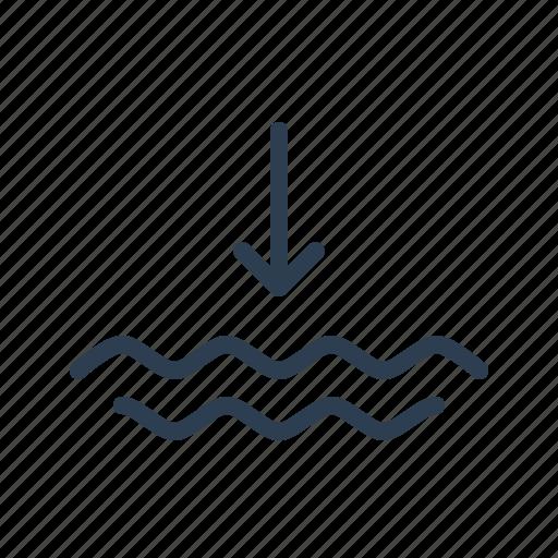 deflux, drain, ebb, ocean, sea, tidewater, water icon