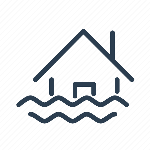 accident, danger, deluge, disaster, flood, house, water icon