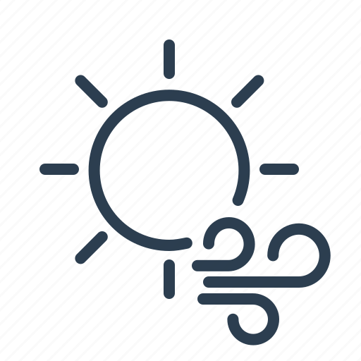 day, forecast, sun, sunny, weather, wind, windy icon