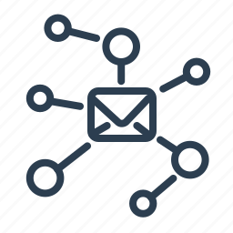 connections, email, envelope, hierarchy, mail, network, structure icon
