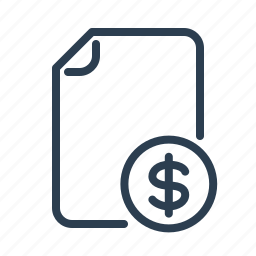 budget, coin, document, dollar, file, invoice, money icon