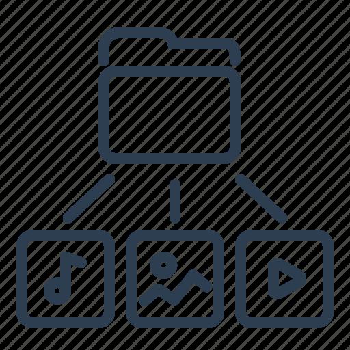 directory, folder, image, media, photo, sound, video icon