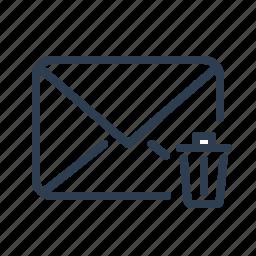 delete, email, envelope, letter, mail, message, trash icon