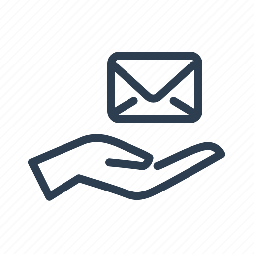 email, envelope, hand, mail, message, support, take care icon