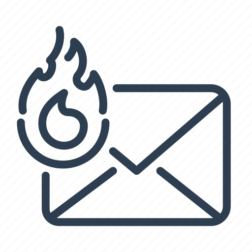 email, fire, hot, letter, mail, message, top priority icon