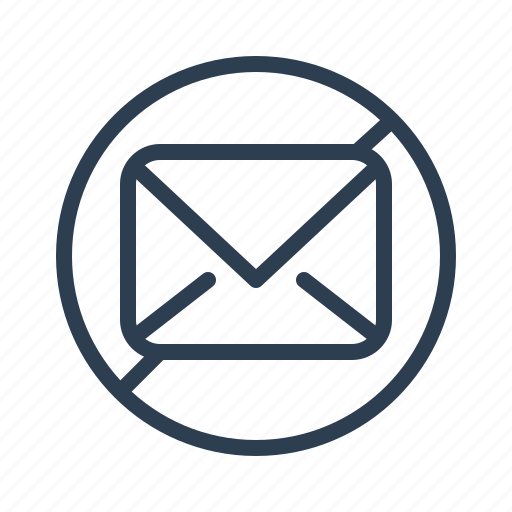 blocked, denied, email, envelope, letter, mail, spam icon