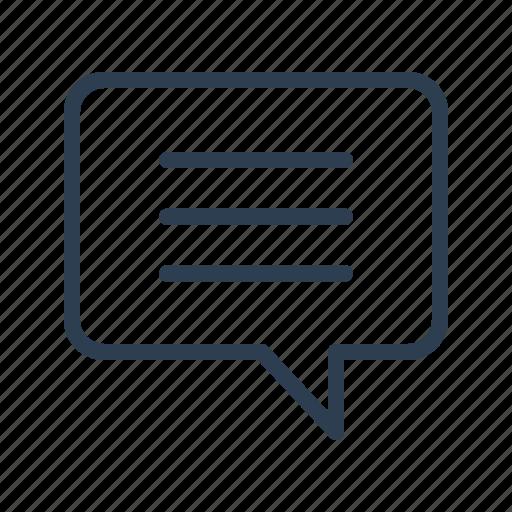 comment, communication, message, message bubble, sms, talk, text icon