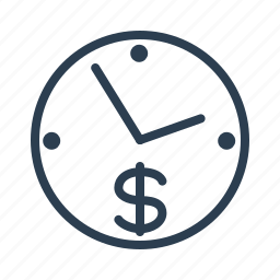 clock, dollar, efficiency, finance, investment, management, productivity icon