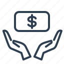 cash, dollar, donation, finance, funding, hands, money icon