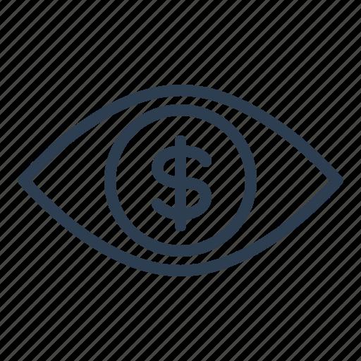 advertising, dollar, eye, marketing, money, online, revenue icon