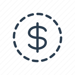 coin, dollar, missing, money, savings icon