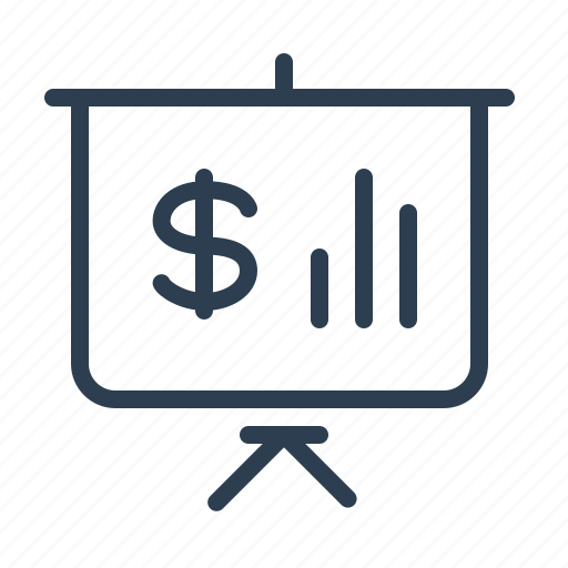 analytics, bar graph, blackboard, dollar, finance statistics, presentation, sales report icon