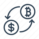 arrows, bitcon, conversion, currency exchange, dollar, money, trade icon