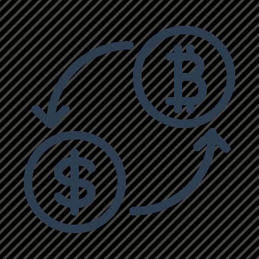 arrows, bitcon, conversion, currency exchange, dollar, money, trade icon