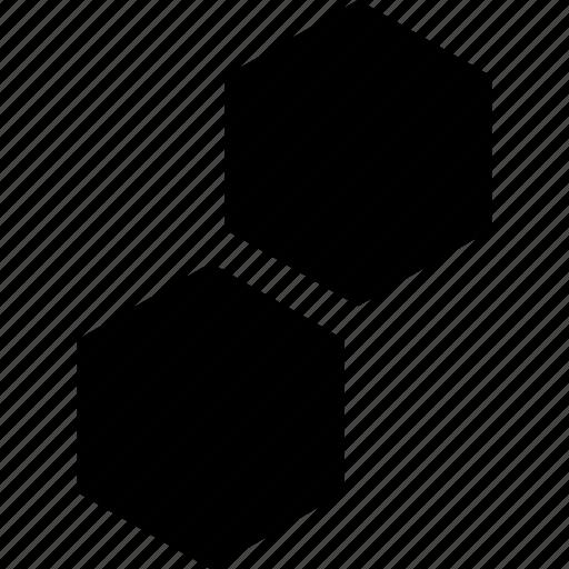 creative, hexagon, two icon