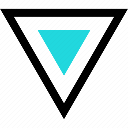 abstract, creative, direction, down, shape, triangle icon