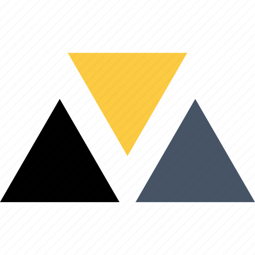 abstract, creative, shape, three, triangles icon