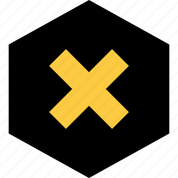 abstract, delete, hexagon, x icon