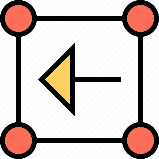 abstract, arrow, back, boxed, creative, left, point icon