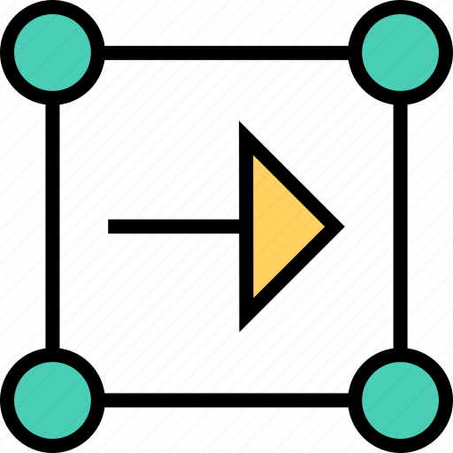 abstract, arrow, boxed, creative, inside, point, right icon