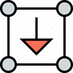 arrow, boxed, down, download, inside, pointer icon