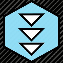 arrows, down, download, hexagon, pointer, three icon