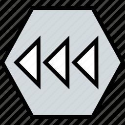 abstract, arrows, creative, hexagon, left, point icon
