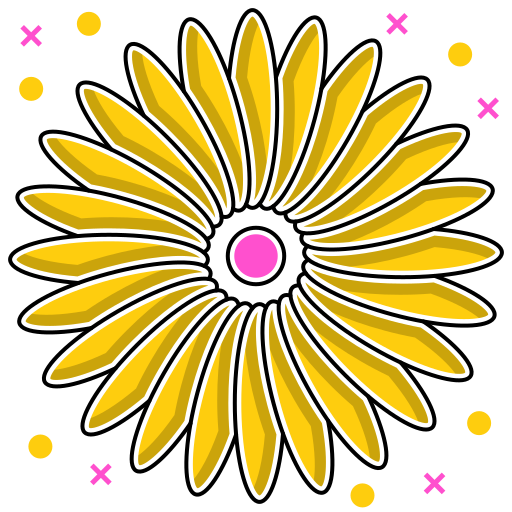 abstract ecology, abstraction, environmental, flower, leaves, shape, yellow icon