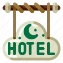 accommodation, holiday, hotel, signage, travel, trip, vacation icon