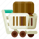 accommodation, hotel, shopping, travel, trip, trolley, vacation icon