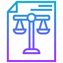 balance, document, judge, justice, sheet icon