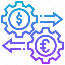 business, currency, exchange, money, transactions icon