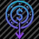 decrease, depreciation, finance, money, reduction icon
