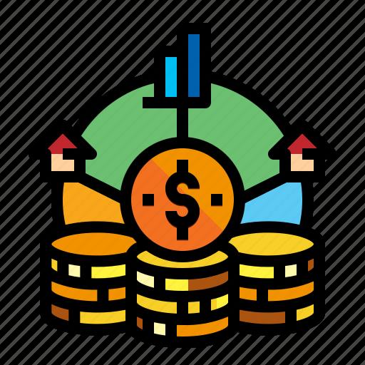 accountion, asset, coin, estate icon