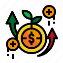 accounting, coin, gains, grow icon