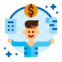 accountant, accounting, bookkeeper, sale icon