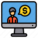 accountant, accounting, business, computer, currency, finance, money icon