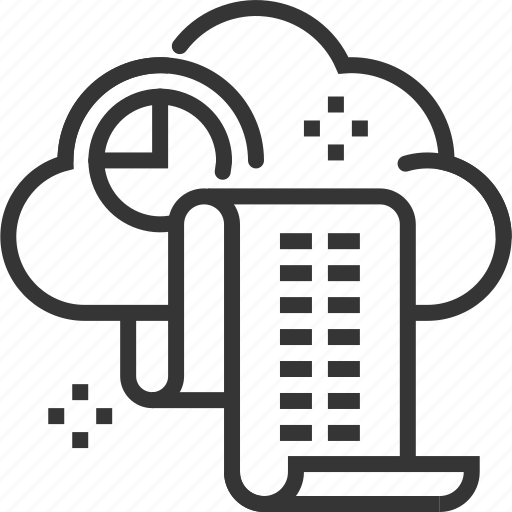 accounting, cloud, document, financial, internet, report, share icon