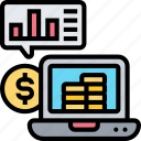 computer, accounting, chart, financial, analytic icon
