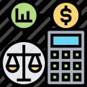 sheet, balance, calculator, monetary, evaluation icon