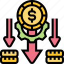 depreciation, downward, lower, cost, allocating icon