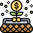 earning, money, profit, growth, purse icon