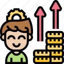 income, money, investor, gross, benefit icon