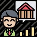 businessman, bank, account, asset, individual icon