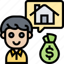 house, brokerage, buyer, mortgages, loans icon