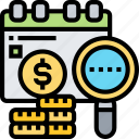 income, monthly, check, calendar, payroll icon