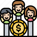 partnership, competitor, shareholder, stockholder, benefit icon