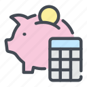 accounting, bank, banking, calc, calculating, calculation, piggy icon
