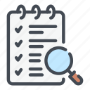 checklist, document, find, list, page, search, task icon